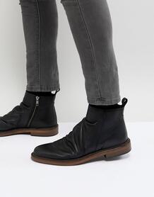 Черные кожаные ботинки на молнии Walk London - Черный 1194553