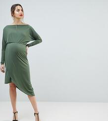 Облегающее платье с открытыми плечами и запахом Queen Bee - Зеленый 1225155