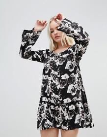 Платье с цветочным принтом и оборкой Rock & Religion - Черный ROCK&RELIGION 1170749