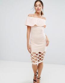 Розовое облегающее платье с открытыми плечами AX Paris - Розовый 1154372