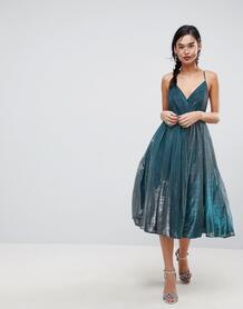 Платье миди металлик из тюля ASOS - Синий ASOS DESIGN 1151204