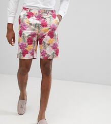 Розовые строгие зауженные шорты с цветочным принтом ASOS TALL Wedding ASOS DESIGN 1162567