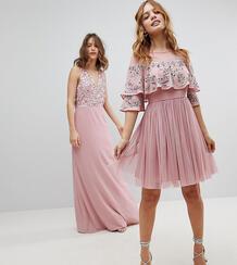Платье миди с прозрачной отделкой и кейпом Maya Petite - Розовый 1177234