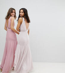 Платье макси с асимметричным подолом TFNC Petite - Коричневый 1181763