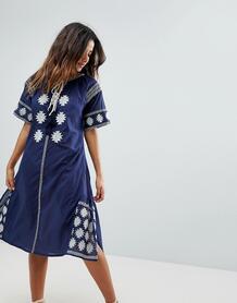 Пляжное платье миди с вышивкой Liquorish - Темно-синий 1173038