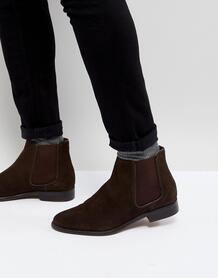 Коричневые замшевые ботинки челси Walk London - Коричневый 1178928