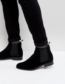 Черные замшевые ботинки челси Walk London - Черный 1178926