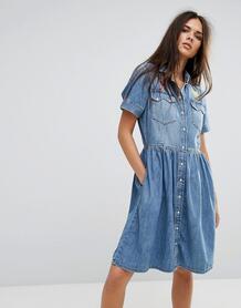 Джинсовое платье с расклешенной юбкой и вышивкой Diesel - Синий 1058119
