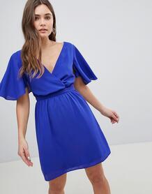 Платье мини с рукавами клеш ASOS - Синий ASOS DESIGN 1200353