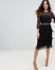Кружевное платье миди с рукавами 3/4 Liquorish - Черный 1149817