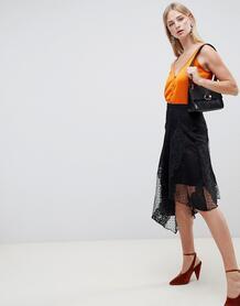 Кружевная асимметричная юбка миди River Island - Черный 1211769