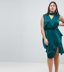 Платье миди с запахом ASOS CURVE - Зеленый 1167651