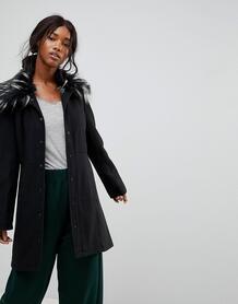 Пальто с воротником из искусственного меха Brave Soul Davina - Черный 1144183