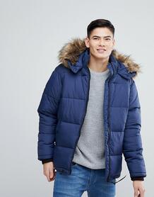 Синяя дутая куртка с искусственным мехом на капюшоне River Island 1207100