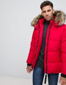 Красная дутая куртка с искусственным мехом на капюшоне River Island 1207098
