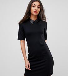 Платье-футболка мини с воротником из искусственной кожи ASOS TALL 1194205