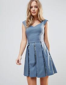 Короткое приталенное платье с пайетками City Goddess - Серый 1136676