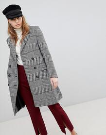 Двубортное пальто в клетку Brave Soul Berwick - Черный 1116160
