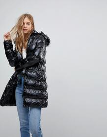 Длинное дутое пальто со съемным капюшоном и блестящей отделкой Brave S Brave Soul 1116121