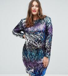 Платье мини с подплечниками, длинными рукавами и пайетками TFNC Plus 1167180