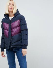 Дутое пальто в стиле колор блок Brave Soul Marsell - Темно-синий 1116155