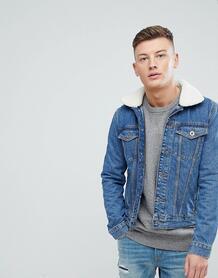 Синяя выбеленная джинсовая куртка с искусственным мехом River Island 1226758