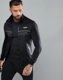 Черная спортивная куртка со светоотражающей отделкой Muscle Monkey 1187364