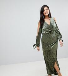 Бархатное платье макси с открытыми плечами и звериным рисунком ASOS CU Asos Curve 1170815