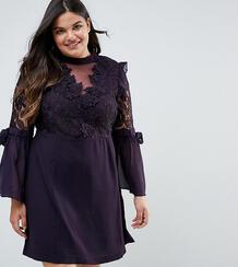 Платье мини с кружевом и бантами на рукавах Truly You Premium 1163911