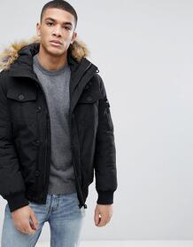 Дутая куртка с искусственным мехом на капюшоне Tom Tailor - Черный 1103255