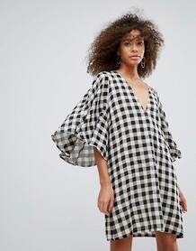 Платье в клетку с широкими рукавами Traffic People - Черный 1160129
