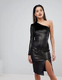 Бархатное платье миди на одно плечо с блестками Flounce London 1208877