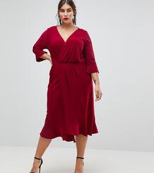 Платье миди с запахом и оборками ASOS CURVE - Красный 1184905