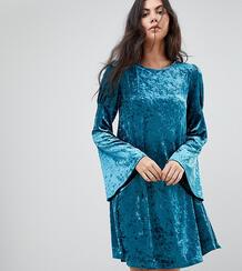 Свободное платье из мятого бархата с длинными рукавами Glamorous Tall 1170773