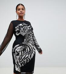 Облегающее платье миди с сетчатой отделкой и тигром ASOS CURVE 1155918