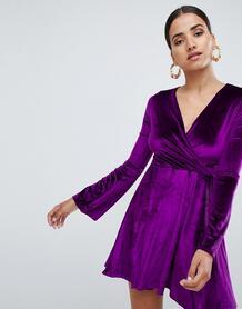 Короткое приталенное платье с рукавами клеш Club L - Фиолетовый 1104569
