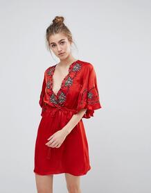 Платье с вышивкой и фактурной отделкой Moon River - Красный 1196174