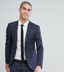 Приталенный пиджак с принтом Heart & Dagger - Темно-синий 1180054