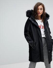 Свободное дутое пальто с меховым капюшоном River Island - Черный 1156231