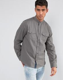 Рубашка с воротом на пуговице и двумя карманами Brave Soul - Серый 1069930