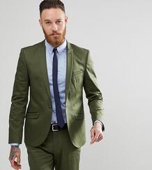 Приталенный пиджак из хлопкового атласа Heart & Dagger - Зеленый 1180086