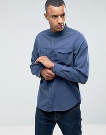 Рубашка с воротом на пуговице и двумя карманами Brave Soul - Синий 1069929