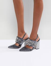 Туфли на каблуке с отделкой камнями ASOS PERFECT COMBO - Серый ASOS DESIGN 1175546