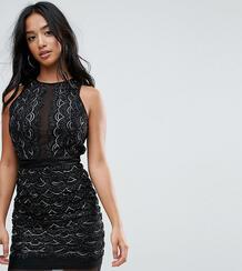 Платье мини с фигурными краями и отделкой пайетками TFNC Petite 1167146