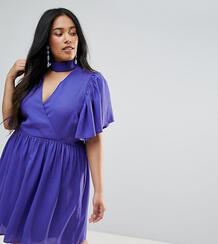 Короткое приталенное платье с рукавами клеш ASOS CURVE - Синий 1122025