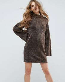 Трикотажное платье металлик с широкими рукавами ASOS - Розовый ASOS DESIGN 1139926
