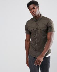Рубашка с короткими рукавами и двумя карманами Brave Soul - Зеленый 1174761