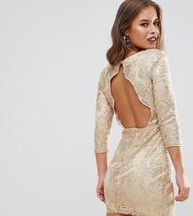Декорированное пайетками платье с открытой спиной TFNC Petite 1167162