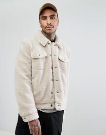 Серовато-бежевая куртка из искусственного меха в стиле вестерн ASOS ASOS DESIGN 1101637