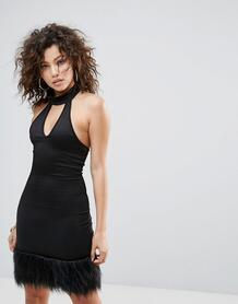 Премиум-платье с искусственным мехом Lasula - Черный 1120957
